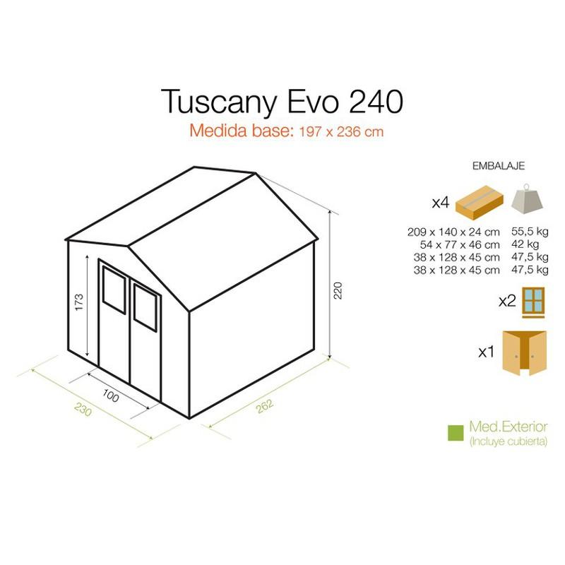 GARDIUN Caseta de Resina Tuscany EVO 240 Blanco//Beige 230x262x220 cm KSP38240